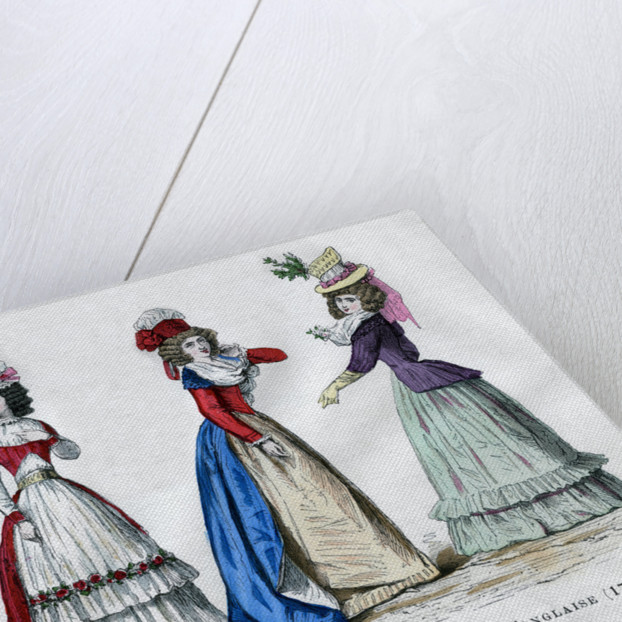 Circassian dress, 1796, English dress, 1789, and caraco housecoat by Anonymous