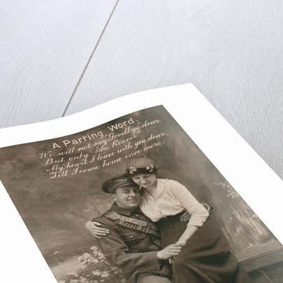 'A Parting Word', romantic postcard featuring a soldier and his sweetheart by Anonymous
