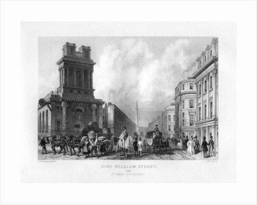 King William Street and St Mary Woolnoth, London by J Woods