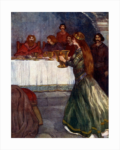 'Rowena came into the room carrying a beautiful golden cup', c430 AD by A S Forrest