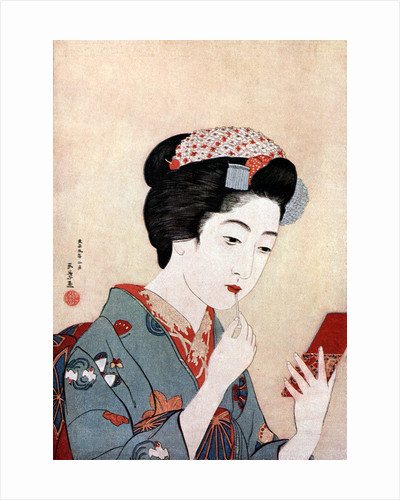 A Woman with a Beni Brush by Hashiguchi Goyo
