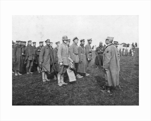 German prisoners taken on 18 April 1918 being told the rules of their captivity, France by Anonymous