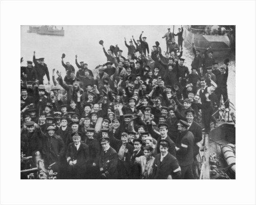 The crew of HMS Vindictive celebrating the Zeebrugge Raid on 23 April 1918 by Anonymous
