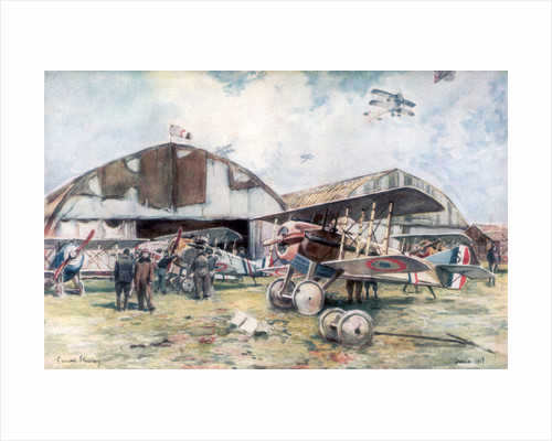 French Fighter Squadron Aerodrome by Francois Flameng