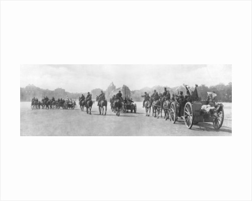 Horse-drawn artillery passing the Palace of Versailles, France, August 1914 by Anonymous