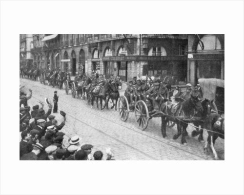 British Horse drawn artillery in Rouen, France, August 1914 by Anonymous