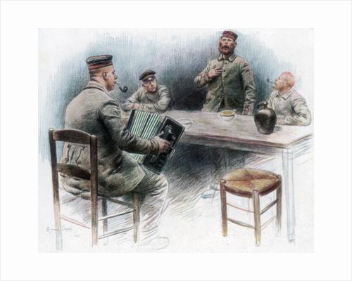 'Sentimental ballad in the Canteen', German prisoners of war in Dinan, France by Maurice Orange