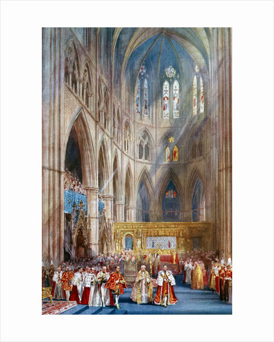 'The Recognition', George VI's coronation ceremony, Westminster Abbey, London by Henry Charles Brewer