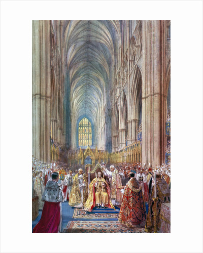 'The Act of Crowning', George VI's coronation ceremony, Westminster Abbey, London by Henry Charles Brewer