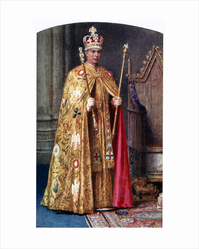 George VI in coronation robes: the Golden Imperial mantle, with St Edward's crown by Fortunino Matania