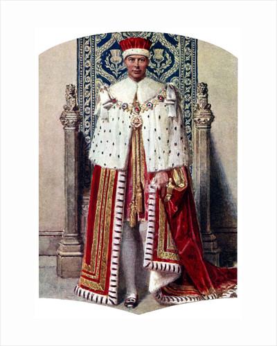 George VI in coronation robes: the Crimson Robe of State, with the Cap of Maintenance by Fortunino Matania