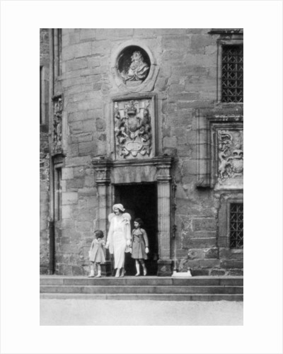 Queen Elizabeth with Princesses Elizabeth and Margaret Rose, Glamis Castle, Scotland by Anonymous