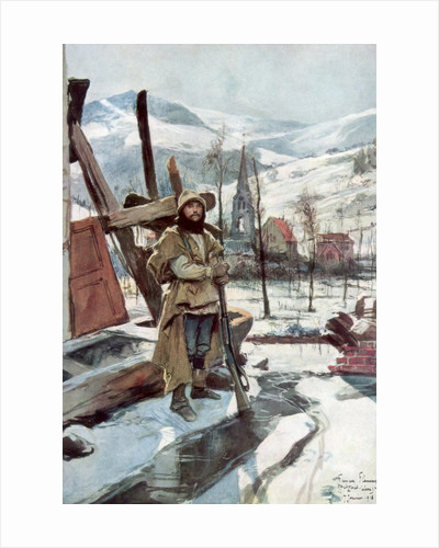 'Standing Guard near Metzeral', Alsace, January 1916 by Francois Flameng