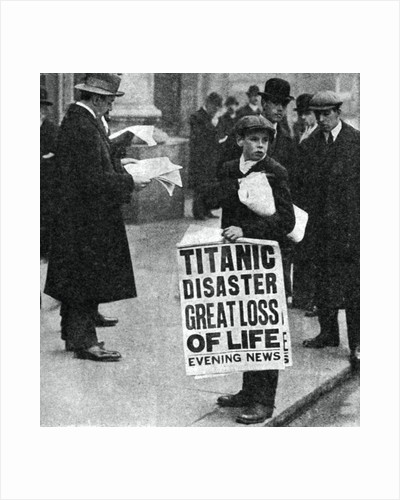 Newspaper boy with news of the Titanic disaster by Anonymous