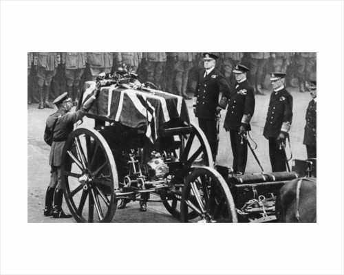 King George V places a wreath on the coffin of an unknown soldier, Whitehall, London by Anonymous