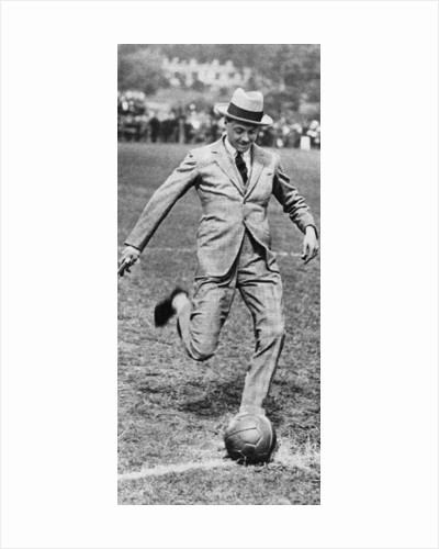 The Prince of Wales kicking off the Spurs versus Fulham football match by Anonymous