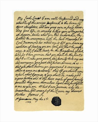 Letter from James Edward Stuart to Simon Fraser, Lord Lovat, St Germains, 3rd May 1703 by James Stuart