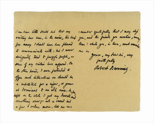 Letter from Robert Browning to William G Kingsland by Robert Browning