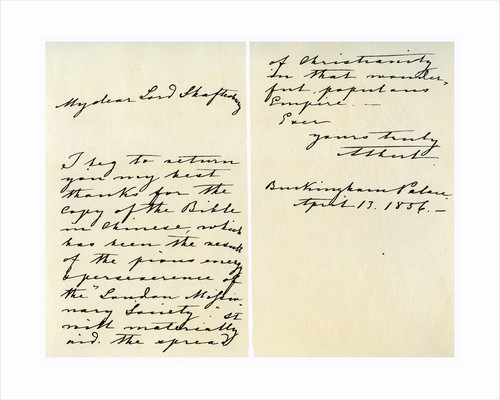 Letter from Albert, Prince Consort to Anthony Ashley Cooper by Prince Albert