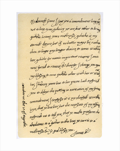 Letter from James I to his son, Charles, Prince of Wales by James I