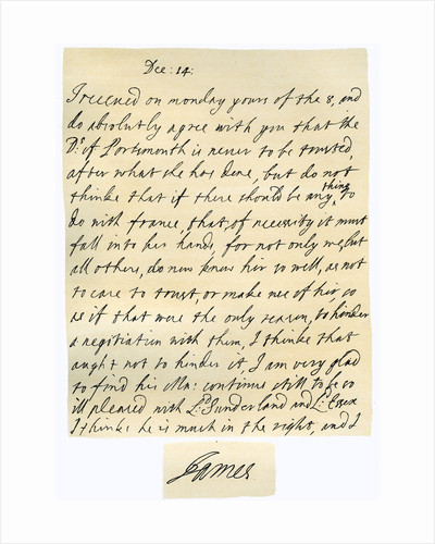 Letter from James II to his brother-in-law, Lawrence Hyde by James II