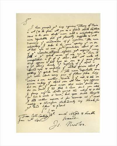 Letter from Sir Issac Newton to William Briggs by Isaac Newton