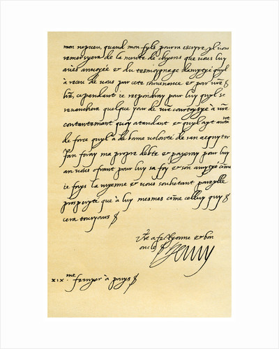 Letter from Henry IV of France to Henry, Prince of Wales by Henry IV
