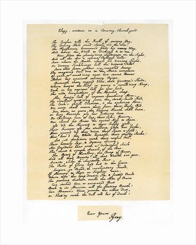 Elegy, written in a Country Churchyard by Thomas Gray