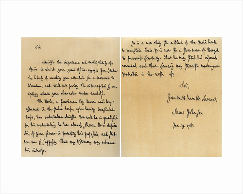 Letter from Dr Samuel Johnson to Warren Hastings by Dr Samuel Johnson