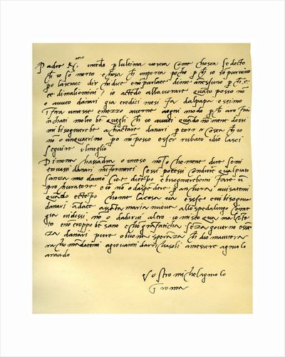 Letter from Michelangelo Buonarroti to his father, June 1508 by Michelangelo Buonarroti