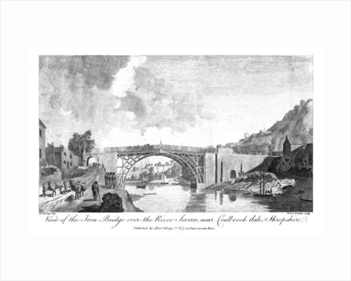 View of the iron bridge over the river Severn, Coalbrookdale, Shropshire by W & J Walker
