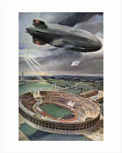 'Hindenburg' zeppelin above the Olympic Stadium, Berlin by Anonymous