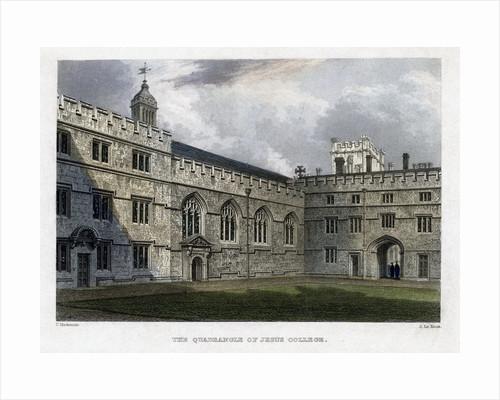 The Quadrangle of Jesus College, Oxford University by John Le Keux