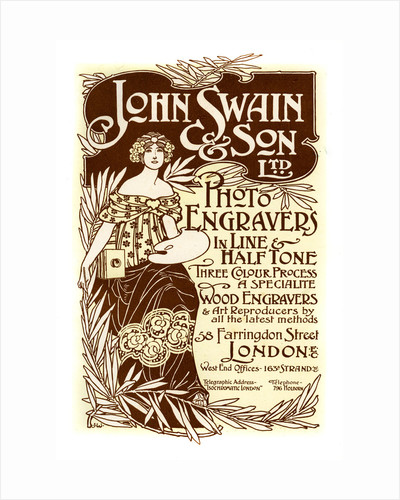 Advertisement for John Swain & Son, printers by John Swain & Son