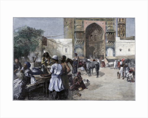 An open-air restaurant at Lahore, India by Edwin Lord Weeks