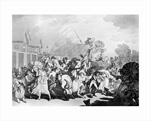A Sudden Squall in Hyde Park by Thomas Rowlandson