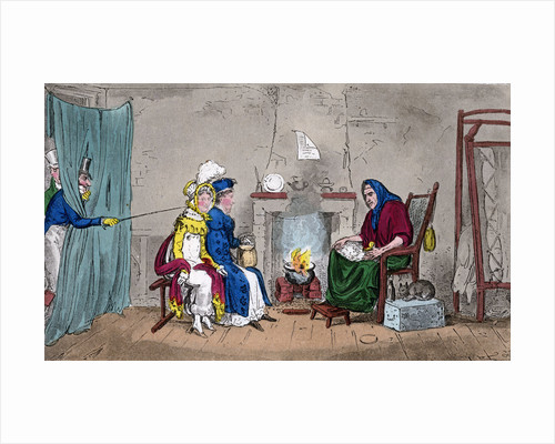 Tom and Jerry, catching Kate and Sue on the fly, having their fortunes told by Isaac Robert Cruikshank