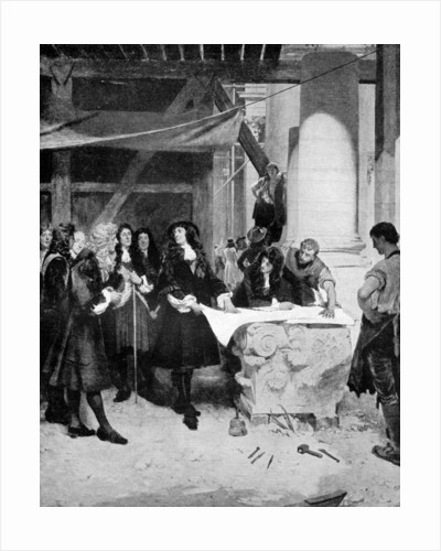 Charles II visiting Sir Christopher Wren during the building of St Paul's Cathedral, London by John Seymour Lucas