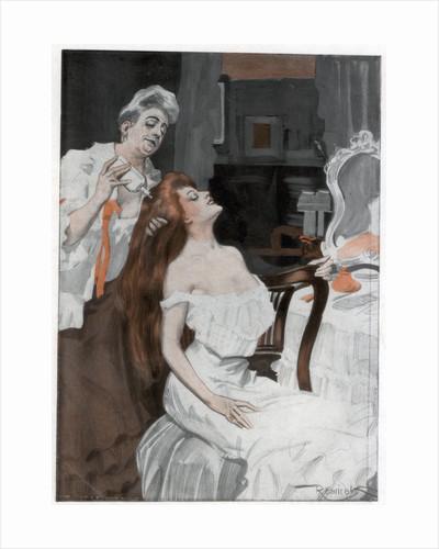 Woman having her hair done by Ferdinand Freih van Reznicek