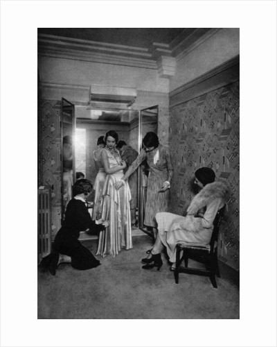 Trying on a dress at a great dressmakers, Paris by Ernest Flammarion