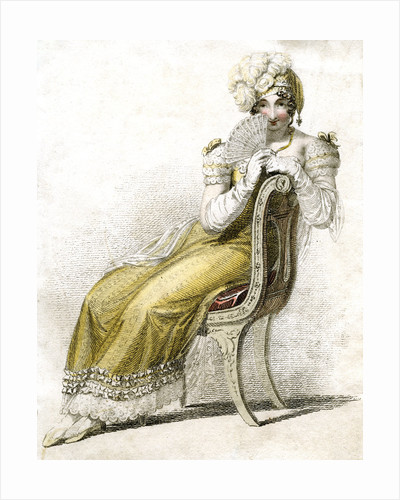 Woman with a fan by Anonymous