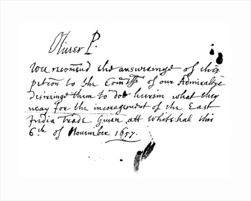 Autograph note of Oliver Cromwell to a petition of the East India Company by Anonymous