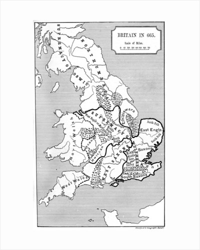Map of Britain in 665 by Anonymous