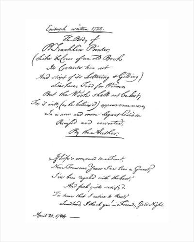Benjamin Franklin's epitaph, written by himself by Benjamin Franklin