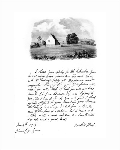 A letter from Sir Richard Steele, and a view of his cottage at Haverstock Hill by Richard Steele