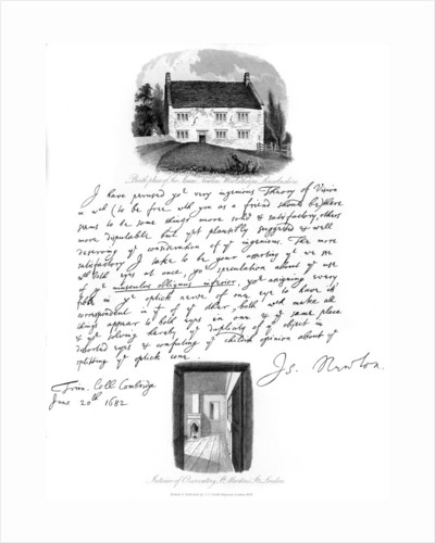 A letter from Isaac Newton, and a view of his birthplace at Woolsthorpe, Lincolnshire by Isaac Newton