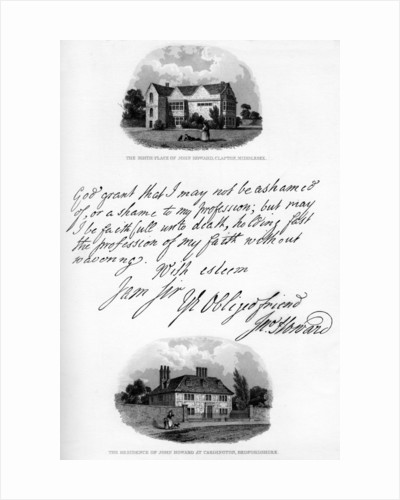 A letter by John Howard, and a view of his residence at Cardington by John Howard