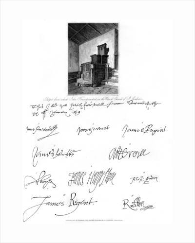 The pulpit of John Knox, and signatures of several eminent personages by C J Smith