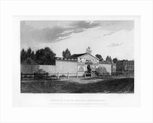 Exterior view of Astley's Amphitheatre in London as it appeared in 1777 by William Capon