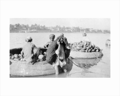River craft laden with melons, Tigris River by Anonymous